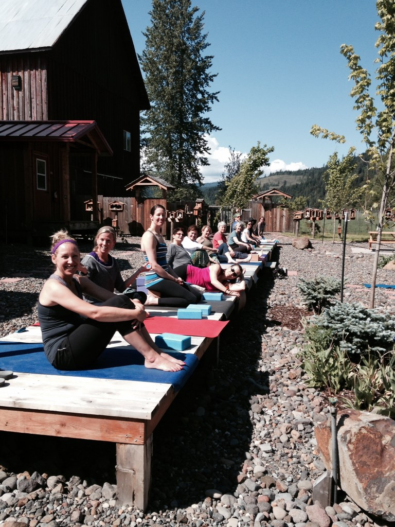 One of two Boardwalks in the Meditation Cloister with a yoga retreat group