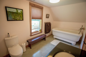 The Stoller Room's private bath with large soaking tub and hand shower.
