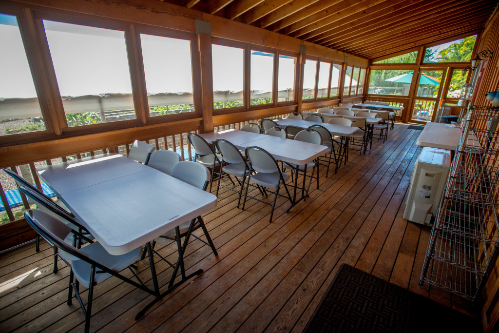 Our back deck below the Mountain Room is for 3-season serving for retreat guests.