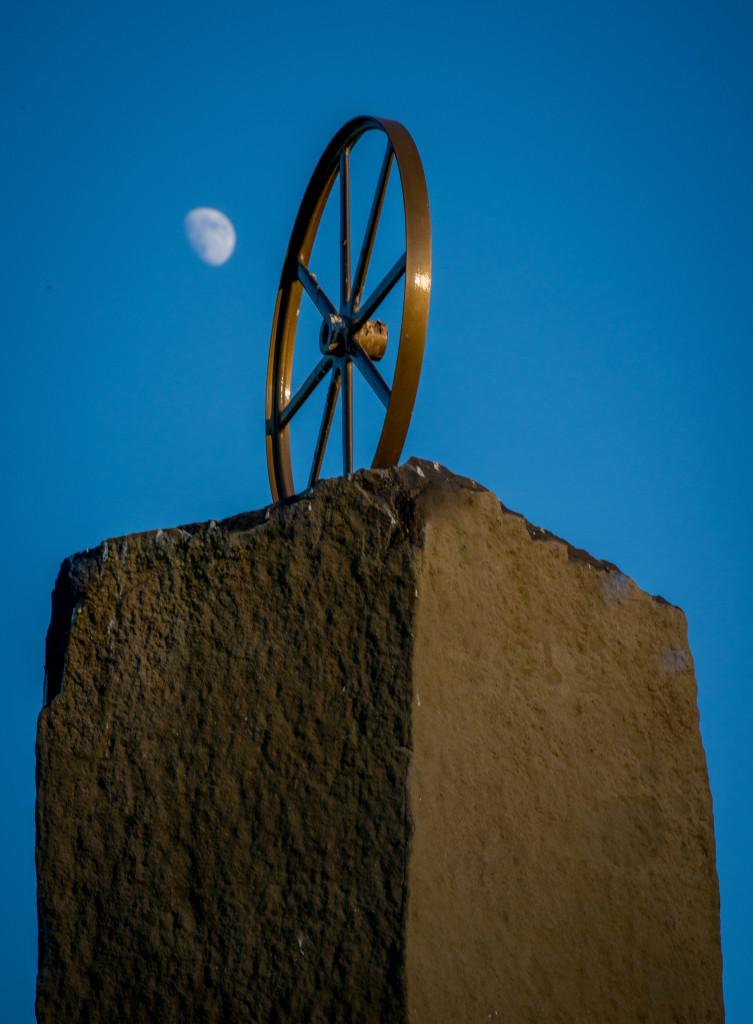 The symbol of Taranis, the Druid Thunder God, atop a pillar